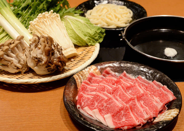 Choose your domestic Japanese beef sukiyaki meat and let the feast begin!