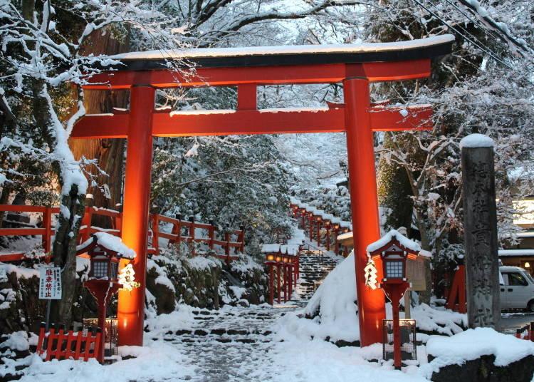 1. Kifune Shrine: Beautiful shades of crimson and snow (Kyoto)