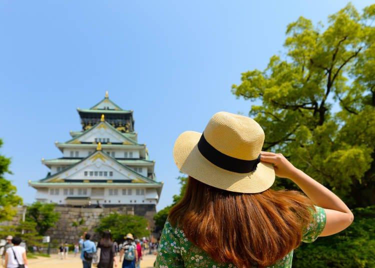 For Osaka Castle, choose Osaka Station on the JR Lines; Nishinomaru Garden, an excellent sakura viewing spot, go to Higashi-Umeda Station on the Osaka Metro