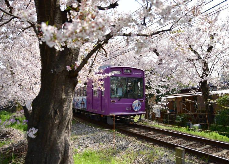 4:00 p.m. Touring the area around Arashiyama: From Kitano-Hakubaichō station on the Keifuku Electric Railroad, go down to Arashiyama station on the same line (19-minute ride, 220 yen)