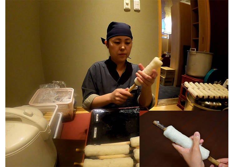 Cuisine experience dish: Honke Abeya Musubu Tamachi location (Tokyo), featuring make-your-own kiritanpo and kiritanpo soup