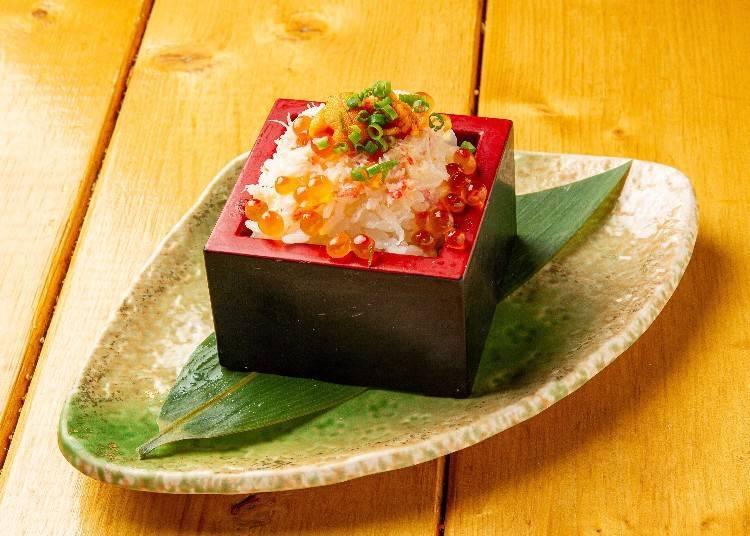 日本米推薦究極美味料理⑥:北海道海鮮個室居酒屋UOTTO~魚人~(北海道)/頂級奢華!蟹肉海膽鮭魚子枡壽司