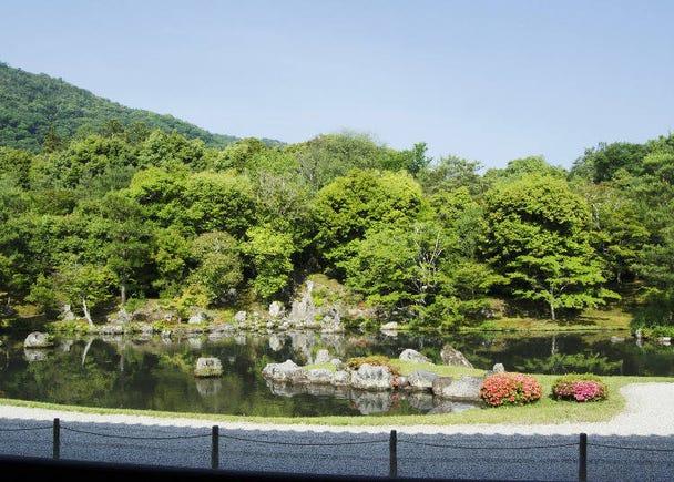 嵐山の雄大な自然を借景にした庭園を座って眺める