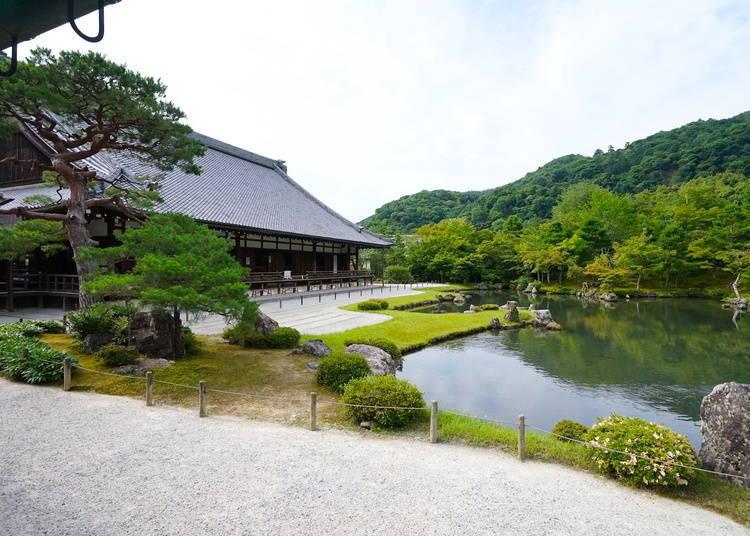 嵐山一日遊③於「天龍寺」的優美庭園前打坐禪修
