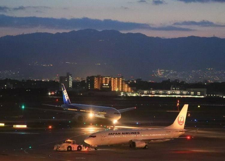 大阪夜景⑦「大阪國際機場航廈」展望台獨佔機場夜空