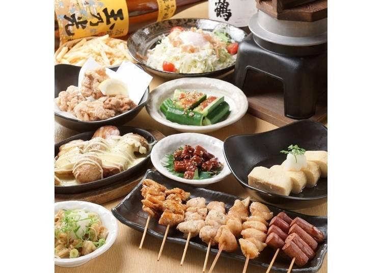 4. 전 메뉴 300엔으로 닭꼬치도 일품요리도 즐길 수 있다! '야키토리 킹! 토리고로 가와라마치점'