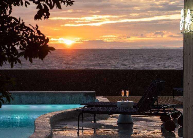 2. 所有房间都能看见淡路岛的夕阳美景「KAMOME SLOW HOTEL」