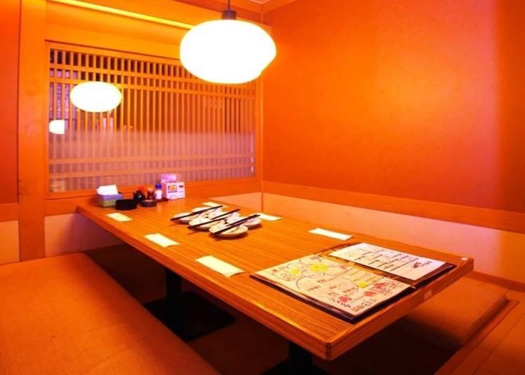 2. Wakanoshizuku Sannomiya: Unwind in one of the many hidden private rooms!