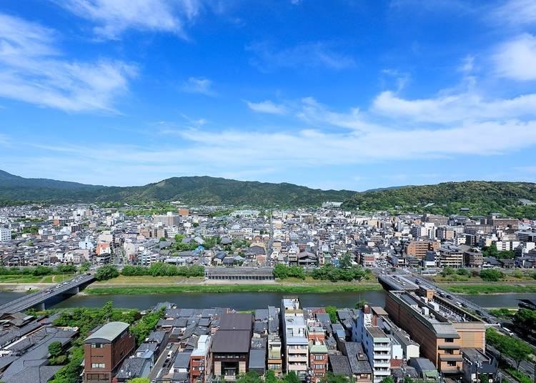 地上約60メートルから望む、雄大な京都の街並み