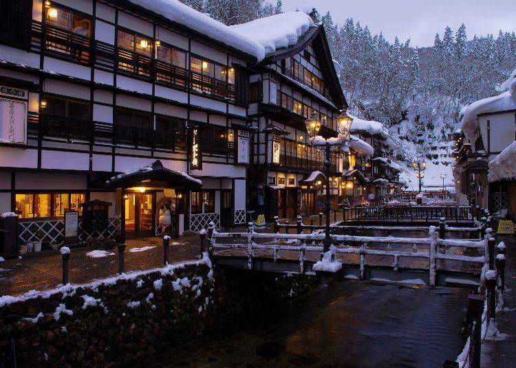 15. Enjoy the dreamy scenery and hot springs in the retro hot-spring town of Ginzan Onsen