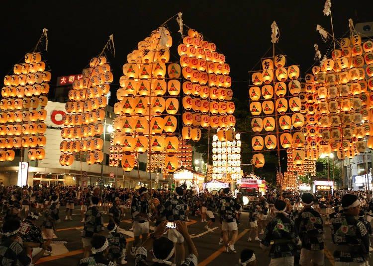3.秋田竿燈祭 每年8月3日~6日