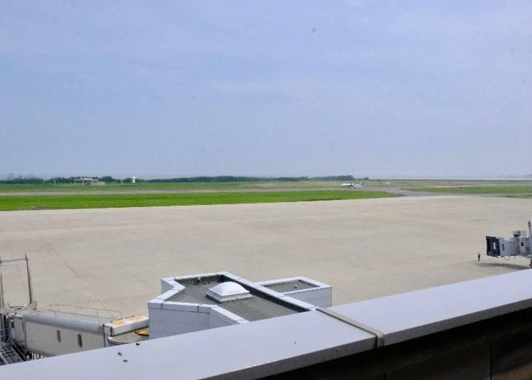 飛行機の離発着が見られる、「見学・送迎デッキ」