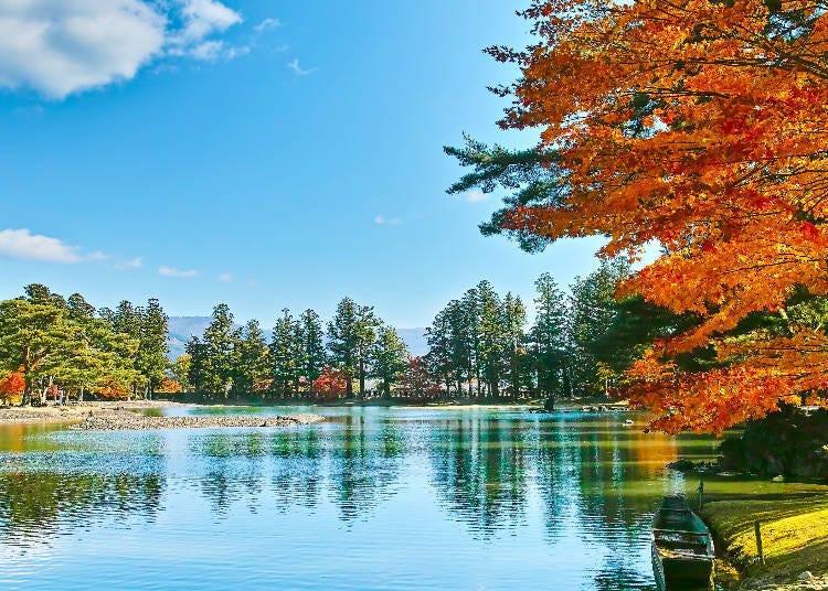 '毛越寺, 모쓰지'의 아름다운 '浄土庭園, 죠도테이엔' (정토 정원)을 산책