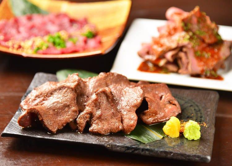 "2. All-You-Can-Eat Gyūtan, Horse Sashimi and Roast Beef ""Koshitsu Taishūizakaya Wamonde"""
