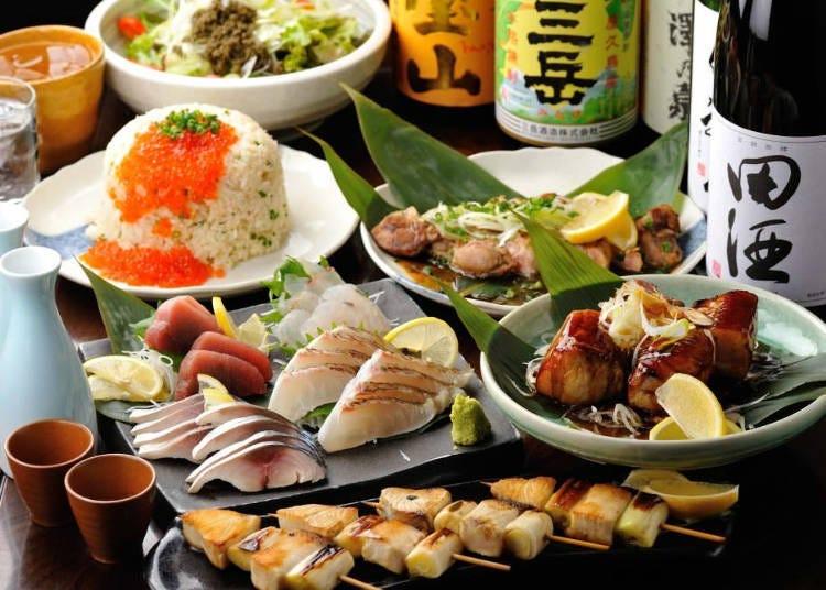 제철 채소, 생선과 프리미엄한 사케를 맛보자