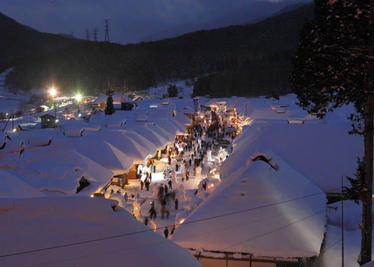 한 겨울에 열리는 '오우치주쿠 유키마츠리'