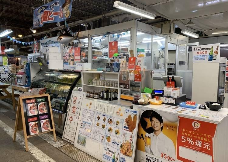 2.プリプリのえび天丼が人気「海鮮屋台どっとや」