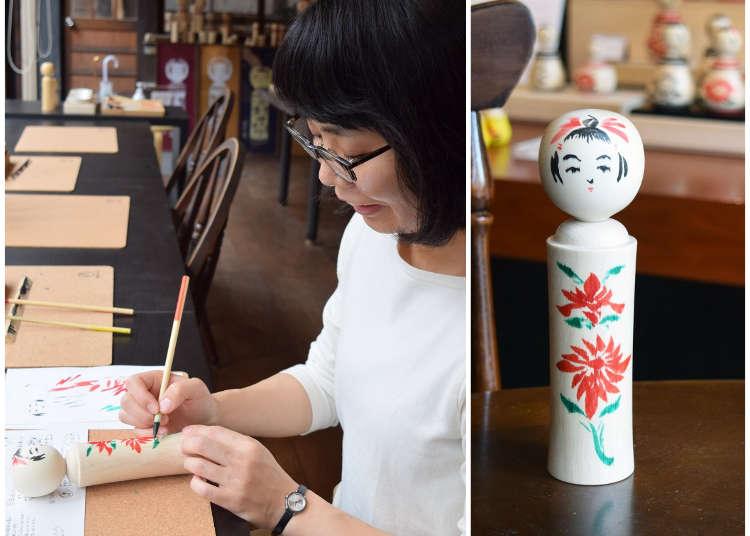 나루코 온천의 전통 공방에서 고시케(목각인형) 그림그리기 체험! 선물로도 최적!