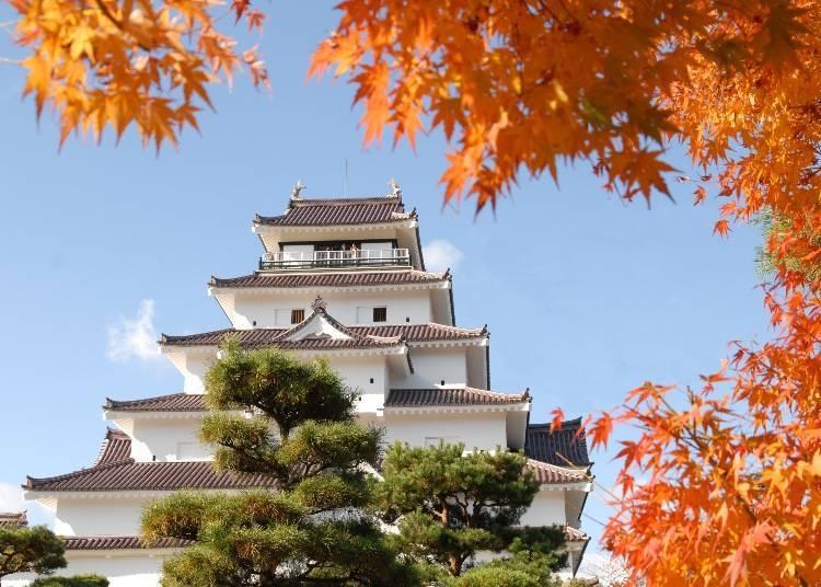 7. Tsurugajo Park: Autumn leaves framing the beautiful Tsurugajo Castle