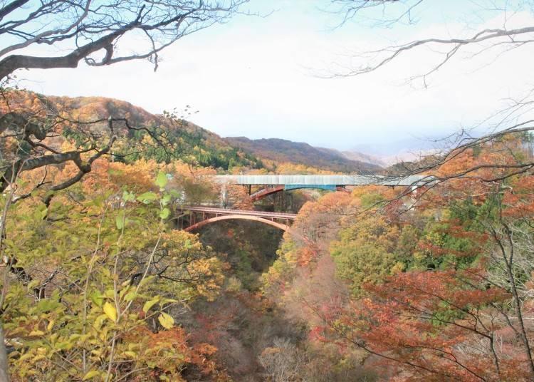 8. Yukiwari Bridge and Yukiwari Valley: Colorful autumn foliage landscapes in Fukushima