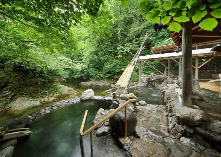 作並溫泉設施①【Yudukushi Salon一之坊】能享受3種源泉與8個溫泉池