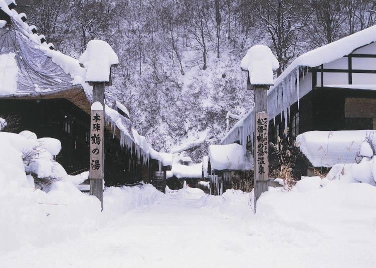 4:ブナの自然林と雪見風呂が魅力「乳頭温泉」(秋田)