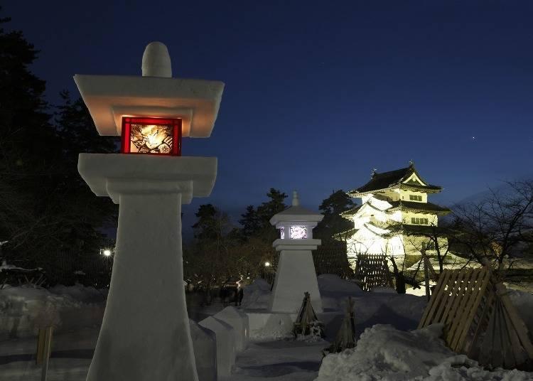1. 히로사키성 눈등롱 축제에 참가
