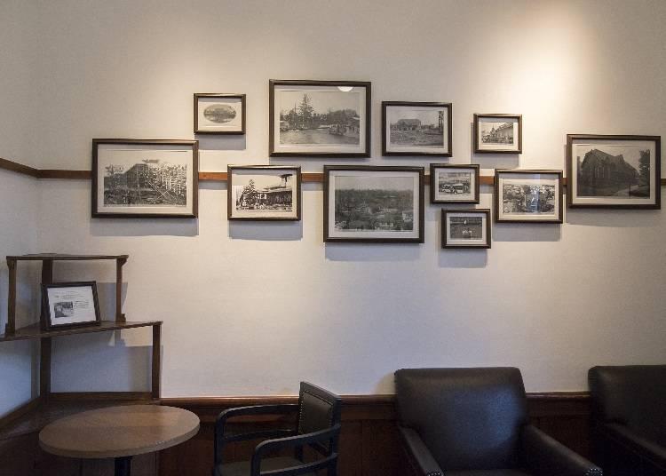 「元控室」には100年以上にわたる建物の変遷の写真を展示