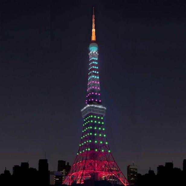 預定於日落~24:00 Tokyo Tower Light up show for Rare Disease Day 2021