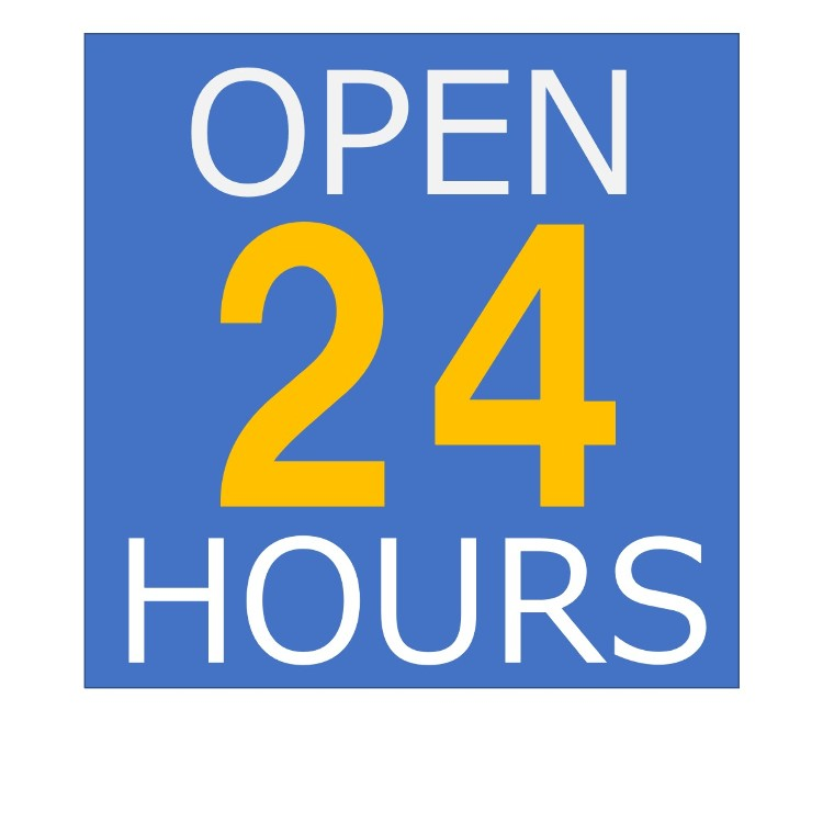 Our shop is open 24 hours.