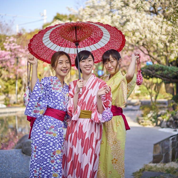 You can wear a yukata for free!