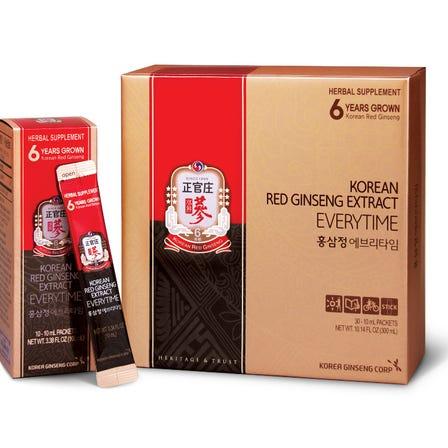 正官庄紅蔘エキスエブリタイム 紅蔘エキス100%に精製水のみ混合して、スティックタイプのパウチに入っており、いつでもどこでも手軽に持ち歩いて召し上がれる「携帯用」紅蔘精です。