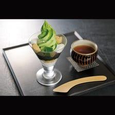 Matcha parfait with roasted green tea