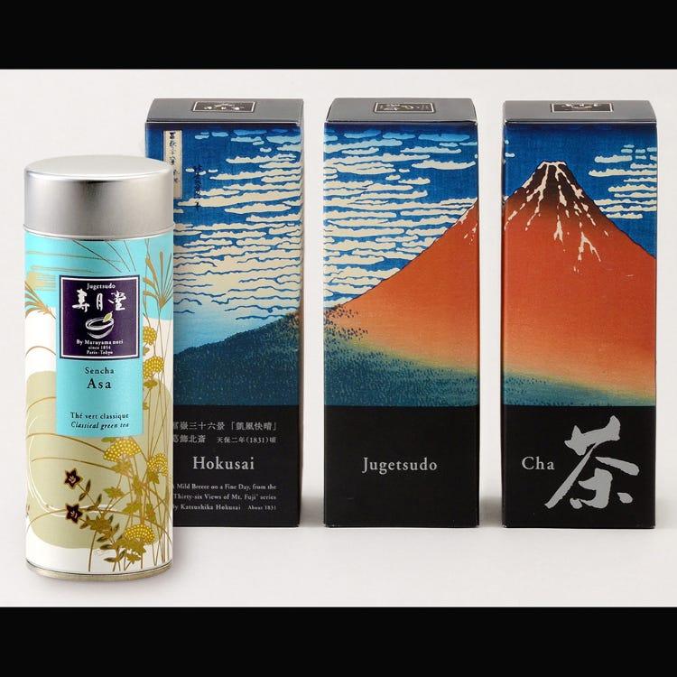 Asa, an organic whole-leaf sencha green tea in a box decorated with Hokusai's Fuji
