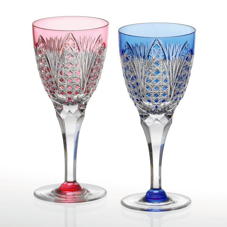 Edo kiriko, paired wine glasses KPS810-2250-AB
