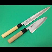 A set of 2 knives White No.2 steel -Sashimi knife 24cm and Deba knife 15cm-