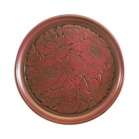 鎌倉彫 8寸丸盆 花鳥図