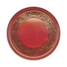 鎌倉彫 9寸丸盆 フチ牡丹