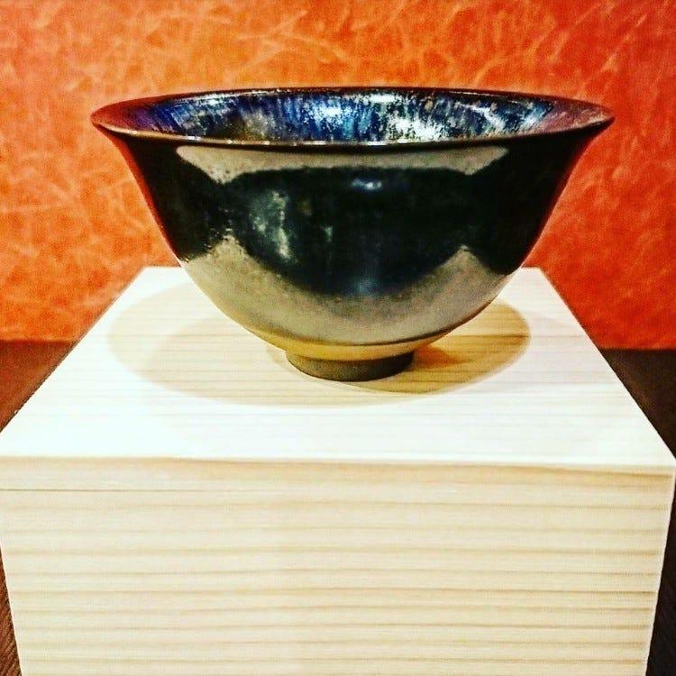 窯變油滴釉盞(京燒陶器)