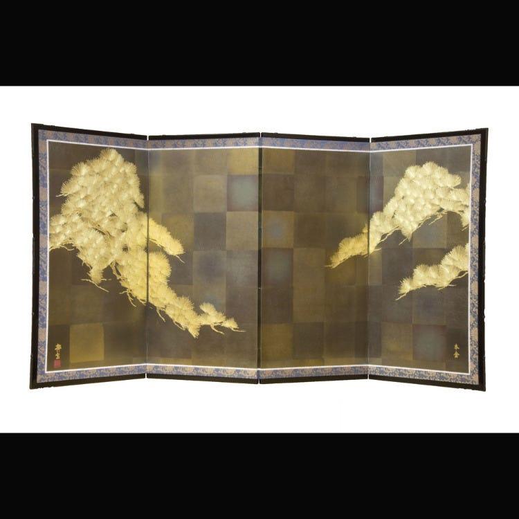 """金彩屏风<br /> 将在和服上绘上图案的""""金彩加工""""技法应用到屏风中。"""