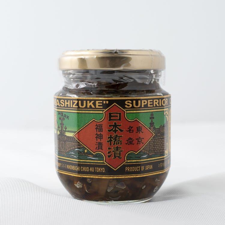 "NIHONBASHIDUKE(This Japanese-style veggie pickles called ""Fukujinzuke"" has been keeping its traditional taste since its release in 1913.)"