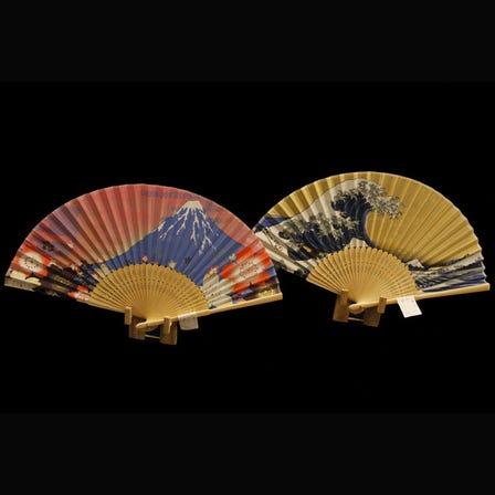 Various silk folding-fans