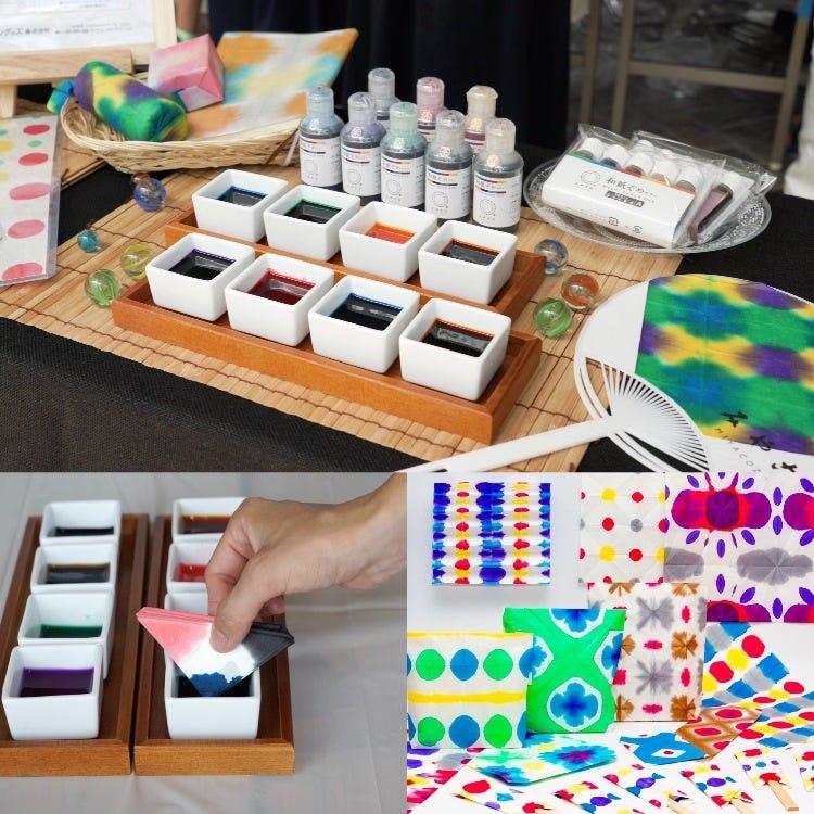 和紙ぞめカラー5色セット<br /> ・日本伝統の和紙に馴染む和紙専用の染料<br /> ・液体でそのまま使えます<br /> ・最新の欧州安全規格EL71-3 2013に適合、安心安全