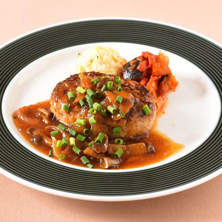 Japanese hamburg steak with mushroom sauce