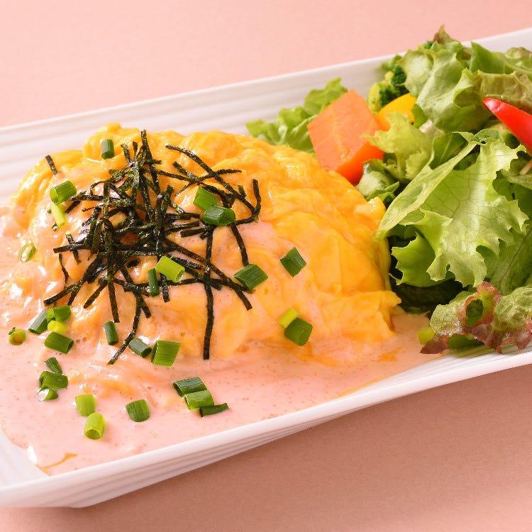 Mentaiko cream omelet rice