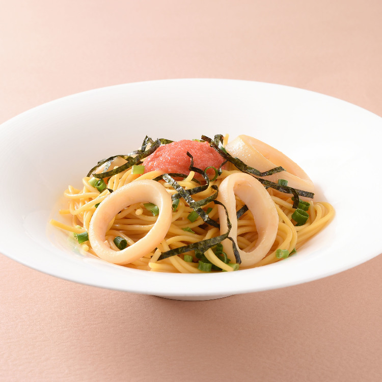 Japanese pasta with squid and MENTAIKO