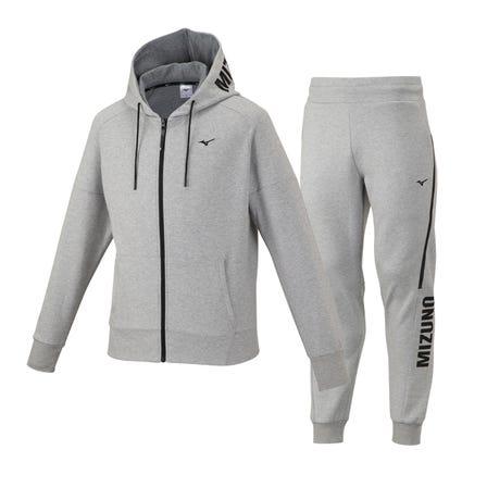 スウェットパーカー&パンツ 伸びが良く、しなやかな素材を使ったスウェットパーカ。 直営店限定商品です。  #mizuno #unisex #sweatshirt #sweatpants #hoodie