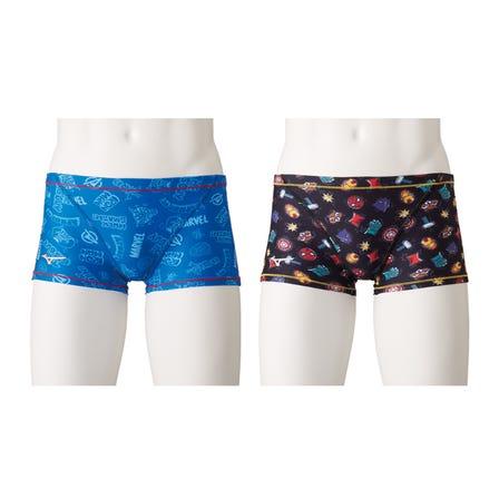SWIMSUIT 上面印有MARVEL徽標和人物插圖的泳衣。 也適用於女性和青少年。  #mizuno #swimsuit #for_men #marvel