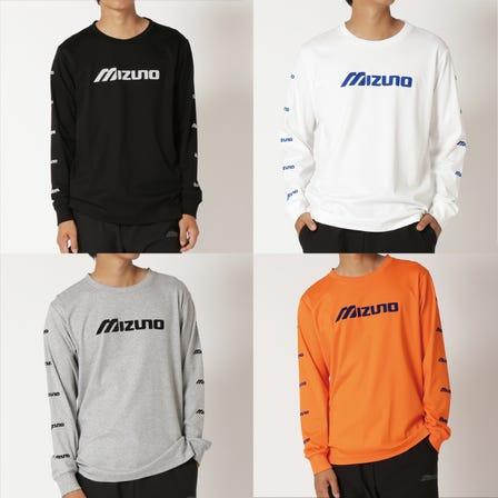 LONG SLEEVE T-SHIRTS 一件長袖T卹,兩個袖子上都有小徽標。  #mizuno #long_sleeve #tshirts #unisex