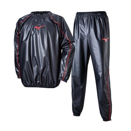 汗出しシャツ&パンツ デザイン一新!ラミネート加工した生地と通気を妨げる仕様で、運動時の発汗を促します。  #mizuno #training #sauna_suit #diet